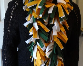 Boa Scarf in Green, Gold and White / Football / Game / Soft / Warm / Cozy / Gifts