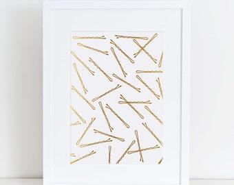 Bobby Pins, Hair Pins, gold effect, Fashion,Printable,powder room,bathroom art,Fashion Print, Bedroom Decor, Fashion Poster,Bedroom Wall Art