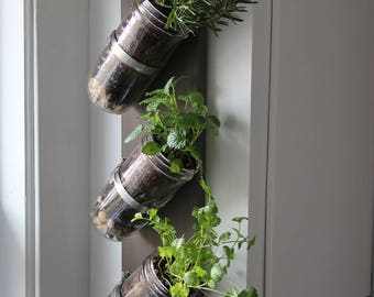 Indoor herb garden // Mason jar herb garden // mason jar decor // mason jar planter