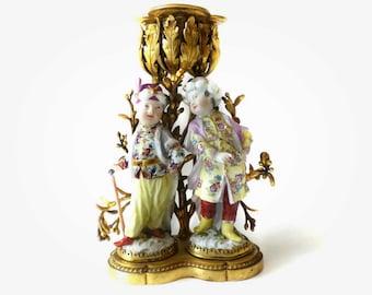 A Louis XV Ormolu Mounted 18th Century MEISSEN Porcelain  Figural Candelabra by Kändler RARE