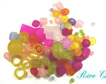 Set of multicolor beads made of acrylic frosted 6mm to 40mm (70 grams, env.75pcs)