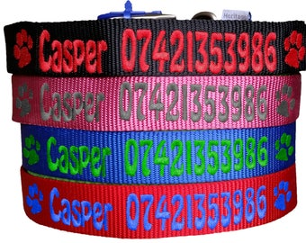 Personalised Dog Collar. Personalised Name & Phone Number Dog Collar Pink Blue Red Black FREE Personalisation ID Collar xxs xs x m l xl