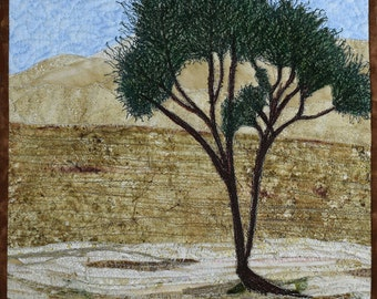 Quilted Landscape Scenes of Israel: Lonely Tree in the Desert