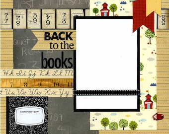 12x12 Premade School Scrapbook Page - Back To The Books