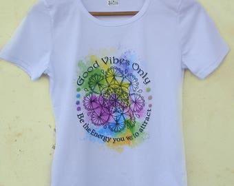 FREE SHIPPING Mandala T-Shirt, Mandala Design, Mandala Printable, Good Vibes T-Shirt, Hand Drawn Design
