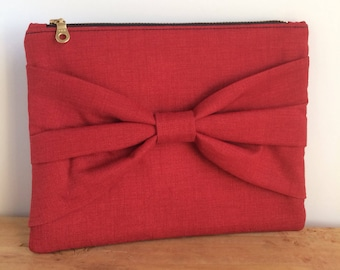 Bow Clutch Purse - Evening Clutch - Clutch Bag - Red Purse - Small Clutch - Wristlet - Gift for Her - Evening Bag - Gift for Girlfriend