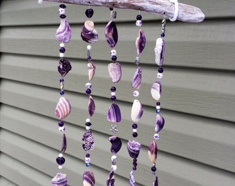 Wampum Wind Chime with Sea Glass Chimes
