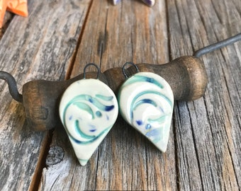 1 Pair of Ceramic Drop Findings | DIY Ceramic Jewelry | Stoneware Textured Dangle earring findings | Drop Charm | DIY Pottery Jewelry Supply