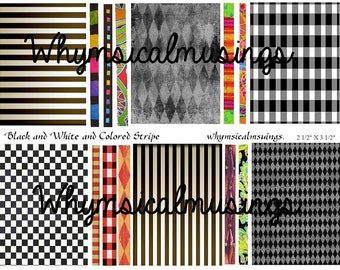 Digital Collage Sheet~ Black and White and Colored Stripe ATC Backgrounds~Digital Download ~ Mixed Media
