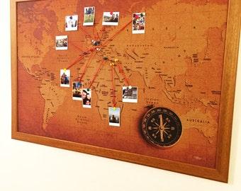 Cork World Map - Vintage Model