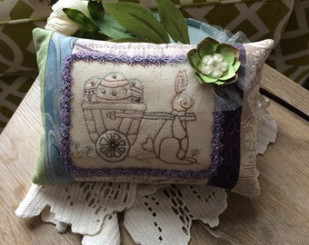 Embroidered Easter Pillow - Easter Bunny Embroidery - Easter Pillow