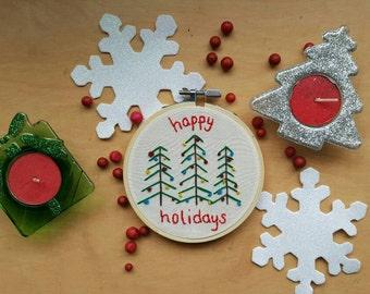 "Happy Holidays Christmas Trees 4"" Embroidery Hoop Art"