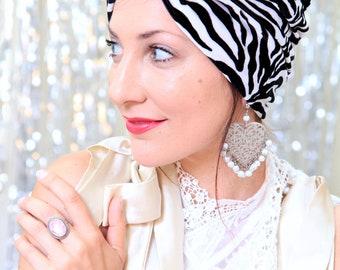Zebra Print Turban in Velvet - Black and White Striped Women's Turban - Animal Print Fashion Hair Wrap - Turban Headwraps