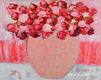 Acrylic Pink Flower Painting. Floral Art Painting. Living Room Art. Cottage Chic Wall Art Decor. 176