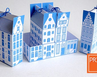 Delft Blue Printable Christmas Boxes | Dutch Canal House | INSTANT Download, Printable Gift Box Template, DIY Gift Boxes, Netherlands