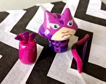 OOAK Marvel Avengers Inspired Hawkeye - Mini Character Pop Culture 'Shroom - Handpainted Polymer Clay Sculpture