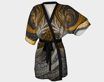 New and Unique Golden Ebony Fractalite Geisha Kimono Robe by Lux Voir
