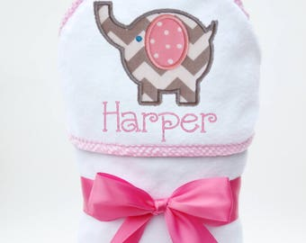 Baby Gift, Baby Bath Towel, Hooded Bath Towel, Personalized Baby Towel, Monogrammed Towel, Elephant Baby, Toddler Beach Towel, Baby Girl