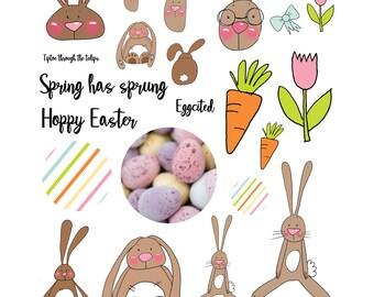 Spring / Hoppy Easter die cut ephemera pack