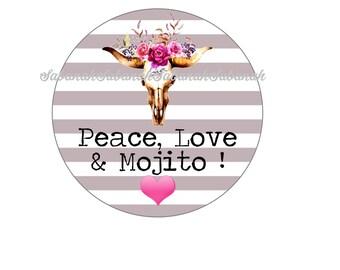 "Cabochon glass series ""Peace, Love & Mojito"" ideal for jewelry earrings bracelets earrings key diy tropical boho"