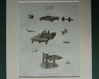 1810 Antique Industrial Print, Factory Decor, Available Framed, Machinery Art, Georgian Industry, engineering diagram, Old Machine Wall Art