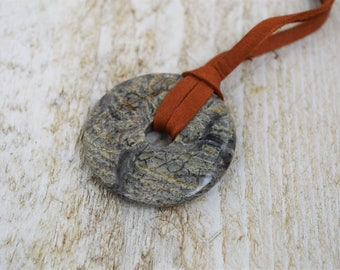 "LABRADORITE Donut Pendant NECKLACE--Handmade with Leather Cord, 22"" long"