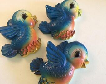 Set of 3 Vintage Chalkware Wall Hanger Bluebirds