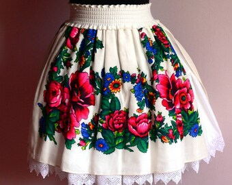 Etno Skirt , Folk Skirt , White Flower Skirt , Gypsy Skirt , Romanian skirt , Folk skirt , Cosplay skirt , Festival skirt
