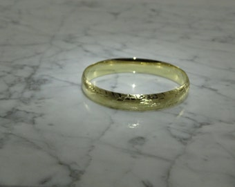 Etched 14K Gold Bangle Bracelet