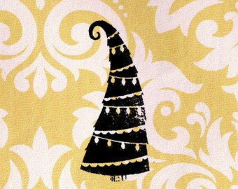 Christmas Tree Stamp: Wood Mounted Christmas Rubber Stamp