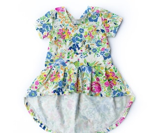 Florence Floral Pleated Peplum Top, Dramatic High/Low Peplum Top, or Knee Length Dress