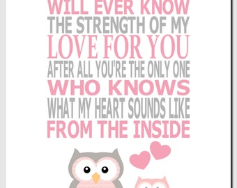 No One Else Will Ever Know The Strength of My Love For You, Pink Gray, Owls, Kids Wall Art, Nursery Art, Baby Girl Room Decor, Quote, Print