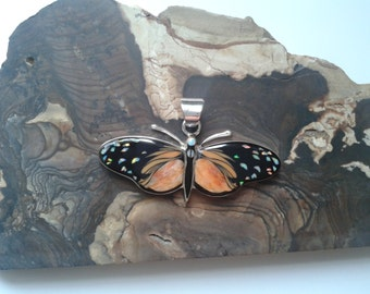 Butterfly Inlay Sterling Silver Pendant Jewelry with Orange Spiny Oyster Shell and Lab Opal