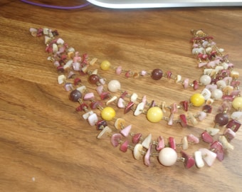 vintage necklace multi strand glass