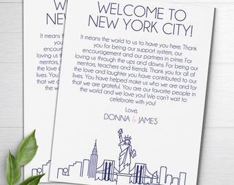 Wedding Welcome Letters, NYC Skyline, Wedding Itineraries, Wedding Welcome Bags, Welcome Card, New York City Wedding Favors, Thank You Cards