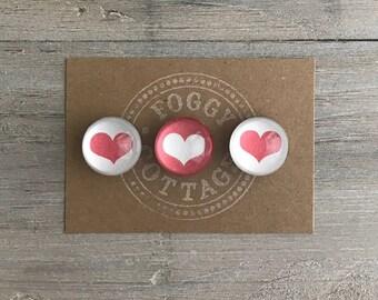 Round Glass Heart Magnets Set of 3, Fridge Magnets, Cute Gift, Glass Magnets, Small Gift, Magnet Set, Party Favor