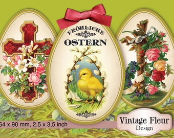 A007 trailer tags vintage Easter printable download
