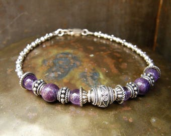Bohemian Purple Layering Bracelet One of a Kind Beaded Bali Silver & Amethyst Stacking Bracelet Unique Boho Jewelry Handmade with Love
