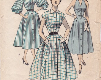 RARE 1950s Women's Halter Dress Button Front or Short/Long Sleeves Bows Vintage Sewing Pattern, Advance 6123, Size 16, Bust 34, UnPrinted