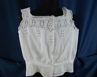 antique linen camisole 1900 embroidered