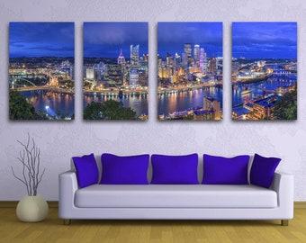 Pittsburgh, Pennsylvania Skyline at dusk, Monongahela River, Panoramic Canvas Print 4 Panel Split. Art print for wall decor, interior design