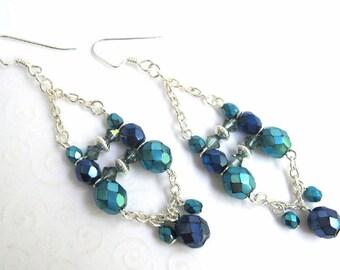 Boho Chandelier Earrings, Dark Blue and Aqua Beaded Dangling Earrings with Metallic Czech Beads, Bohemian Jewelry