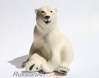 Polar white bear  porcelain figurine,  statue