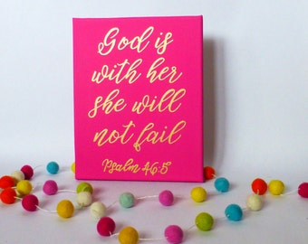Bible Verse Canvas Painting  Canvas Sign  Girls Wall Art  Pink and Gold Decor  Bible Verse Sign  Canvas Painting  Home Decor