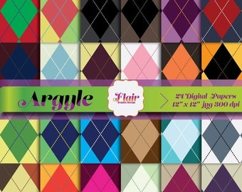 80% OFF Colorful ARGYLE Digital Pattern Paper for Scrapbooking, Backgrounds, Invitations, Art Supplies