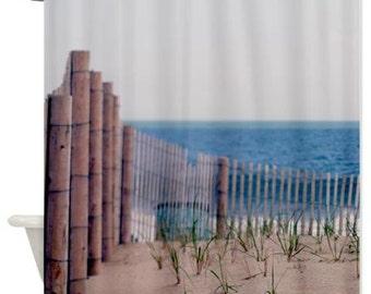 Beach shower curtain, ocean shower curtain, beach fence brown blue bathroom decor, nautical shower curtain, coastal shower curtain fabric
