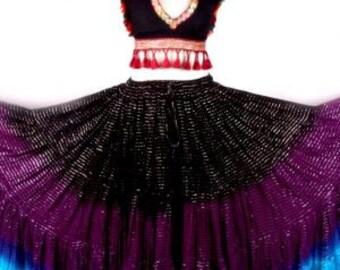 25Yard Multicolor Tribal Lurex DipDyed Gypsy ATS Beautiful ATS Skirt~