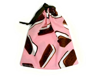 Small Pink Tote Bag Ice Cream Sandwich Fun Kids Tote Bag Drawstring Pouch