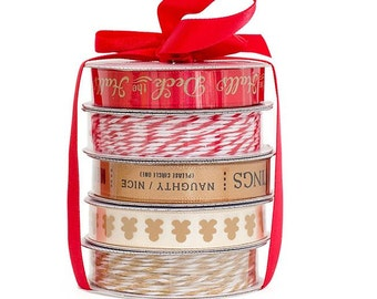 """American Crafts """"Deck the Halls"""" Premium Ribbon and Twine Pack, Scrapbooking and Gift Wrap Supplies, Christmas/Holiday Ribbon, 5 Spools"""
