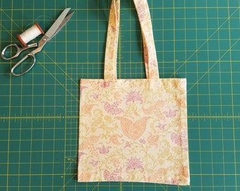 Swirly Twirly Floral Print Fat Quarter Tote Bag, Fabric Gift Bag, Small Cotton Tote